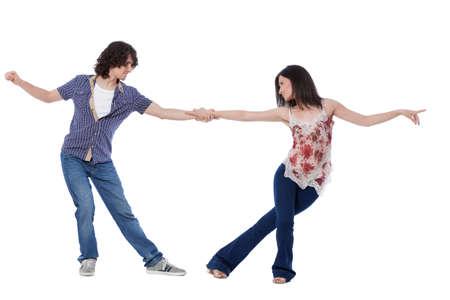 Foto de Social dance West Coast Swing. Demonstration of a leverage pose. - Imagen libre de derechos