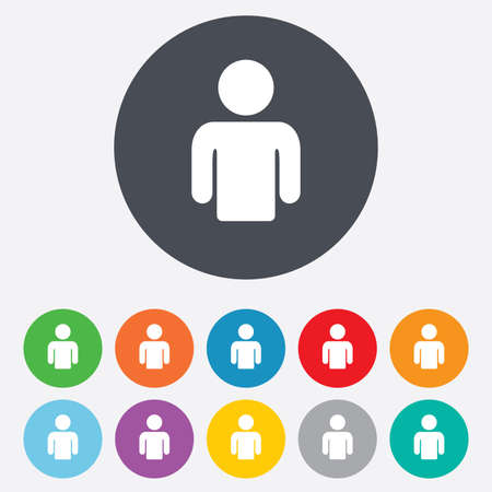 Ilustración de User sign icon. Person symbol. Human avatar. Round colourful 11 buttons. Vector - Imagen libre de derechos
