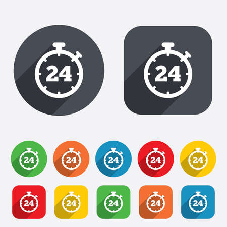 24 hours Timer sign icon. Stopwatch symbol. Customer support service. Circles and rounded squares 12 buttons.