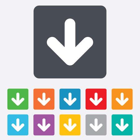 Illustration pour Download icon. Upload button. Load symbol. Rounded squares 11 buttons. Vector - image libre de droit