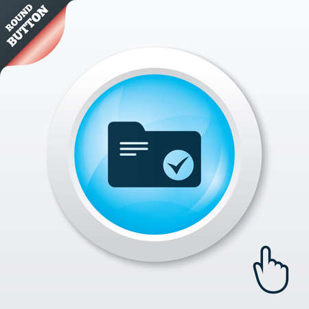Illustration pour Select document folder sign. Accounting binder symbol. Bookkeeping management. Blue shiny button. Modern UI website button with hand cursor pointer. Vector - image libre de droit