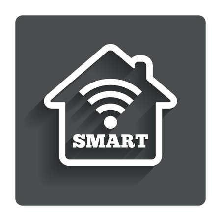 Illustrazione per Smart home sign icon. Smart house button. Remote control. Gray flat button with shadow. Modern UI website navigation. Vector - Immagini Royalty Free