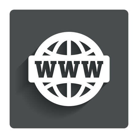 Illustration pour WWW sign icon. World wide web symbol. Globe. Gray flat button with shadow. Modern UI website navigation. Vector - image libre de droit