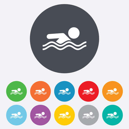 Swimming sign icon. Pool swim symbol. Sea wave. Round colourful 11 buttons.