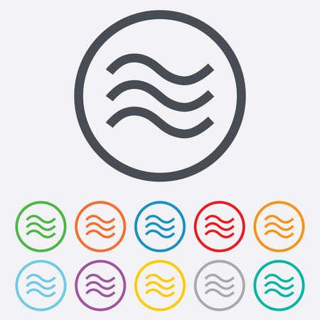 Ilustración de Water waves sign icon. Flood symbol. Round circle buttons with frame.  - Imagen libre de derechos