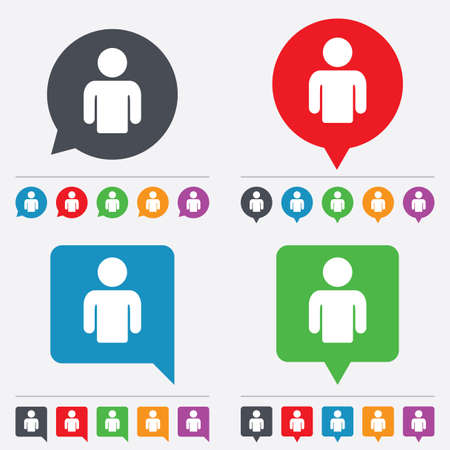 Illustrazione per User sign icon. Person symbol. Human avatar. Speech bubbles information icons. 24 colored buttons. Vector - Immagini Royalty Free