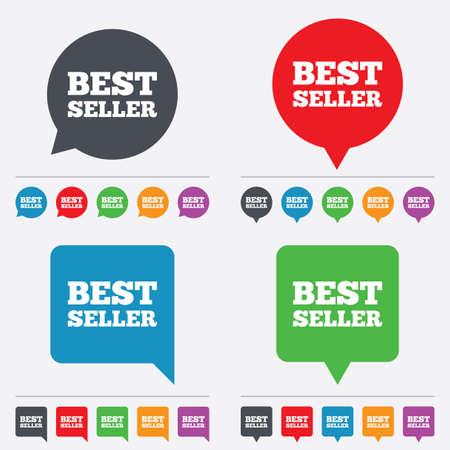 Ilustración de Best seller sign icon. Best seller award symbol. Speech bubbles information icons. 24 colored buttons. Vector - Imagen libre de derechos
