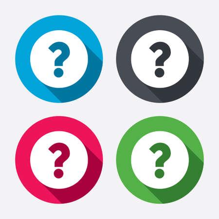 Illustration pour Question mark sign icon. Help symbol. FAQ sign. Circle buttons with long shadow. 4 icons set. Vector - image libre de droit