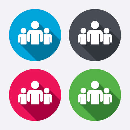 Photo for Group of people sign icon. Share symbol. Circle buttons with long shadow. 4 icons set. Vector - Royalty Free Image