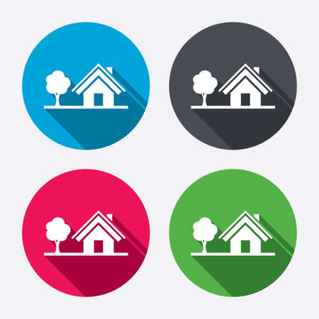 Illustration pour Home sign icon. House with tree symbol. Circle buttons with long shadow. 4 icons set. Vector - image libre de droit