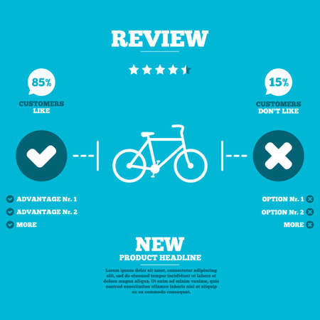 Illustration pour Review with five stars rating. Bicycle sign icon. Eco delivery. Family vehicle symbol. Customers like or not. Infographic elements. Vector - image libre de droit