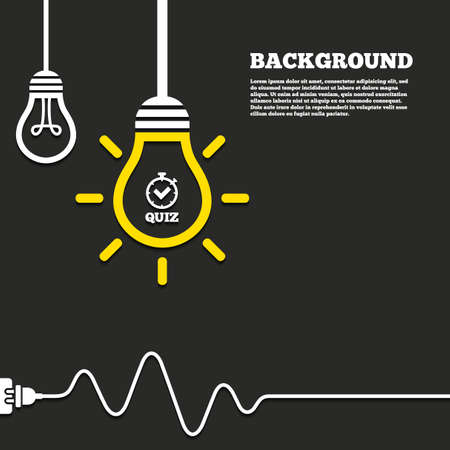Illustration pour Idea lamp with electric plug background. Quiz timer sign icon. Questions and answers game symbol. Curved cord. Vector - image libre de droit