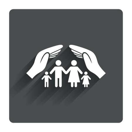 Ilustración de Family life insurance sign icon. Hands protect human group symbol. Health insurance. Gray flat square button with shadow. Modern UI website navigation. Vector - Imagen libre de derechos