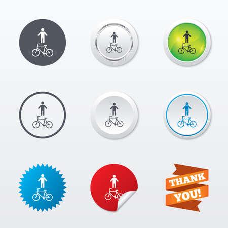 Ilustración de Bicycle and pedestrian trail sign icon. Cycle path symbol. Circle concept buttons. Metal edging. Star and label sticker. Vector - Imagen libre de derechos