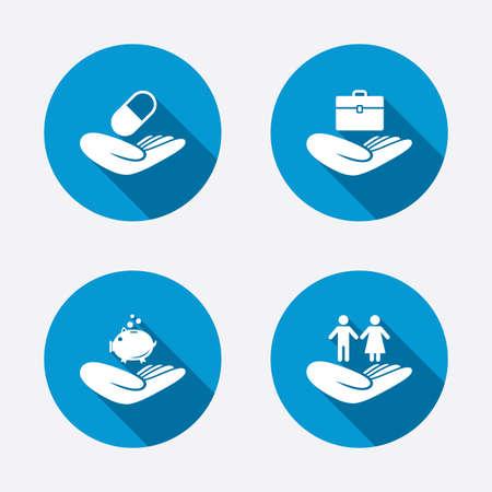 Ilustración de Helping hands icons. Protection and insurance symbols. Financial money savings, health medical insurance. Human couple life sign. Circle concept web buttons. Vector - Imagen libre de derechos