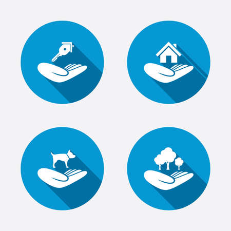Ilustración de Helping hands icons. Shelter for dogs symbol. Home house or real estate and key signs. Save nature forest. Circle concept web buttons. Vector - Imagen libre de derechos