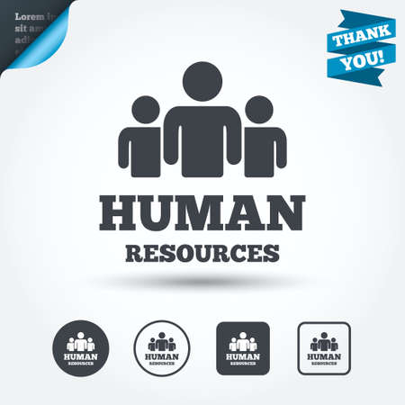 Illustration pour Human resources sign icon. HR symbol. Workforce of business organization. Group of people. Circle and square buttons. Flat design set. Thank you ribbon. Vector - image libre de droit
