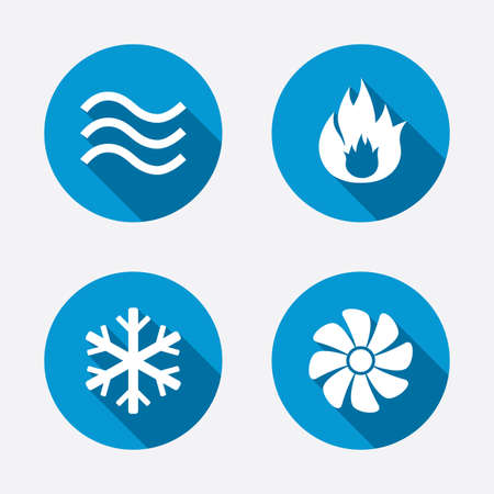 Illustration pour HVAC icons. Heating, ventilating and air conditioning symbols. Water supply. Climate control technology signs. Circle concept web buttons. Vector - image libre de droit