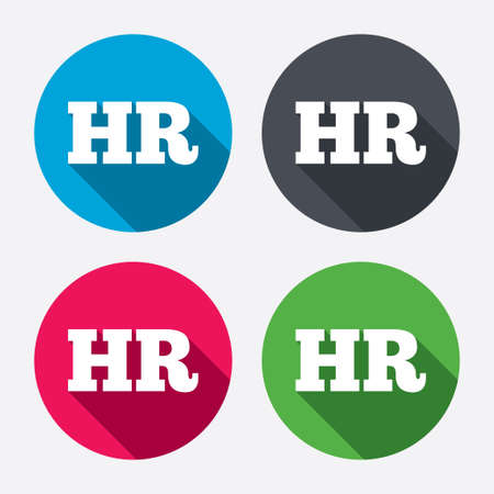 Illustration pour Human resources sign icon. HR symbol. Workforce of business organization. Circle buttons with long shadow. 4 icons set. Vector - image libre de droit