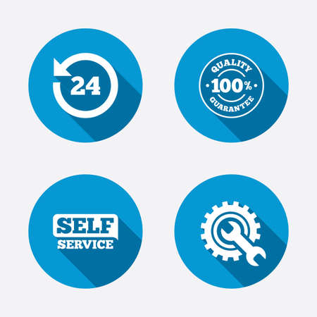 Illustration pour Repair fix tool icons. 24h Customer support service signs. 100% quality guarantee symbol. Cogwheel gear with wrench key. Circle concept web buttons. Vector - image libre de droit