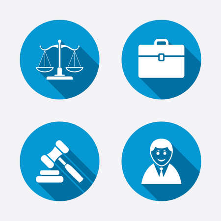 Illustration pour Scales of Justice icon. Client or Lawyer symbol. Auction hammer sign. Law judge gavel. Court of law. Circle concept web buttons. Vector - image libre de droit