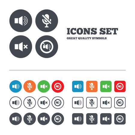 Illustration pour Player control icons. Sound, microphone and mute speaker signs. No sound symbol. Web buttons set. Circles and squares templates. Vector - image libre de droit