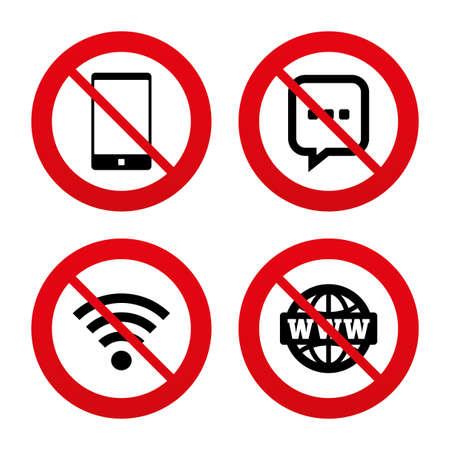 Ilustración de No, Ban or Stop signs. Communication icons. Smartphone and chat speech bubble symbols. Wifi and internet globe signs. Prohibition forbidden red symbols. Vector - Imagen libre de derechos