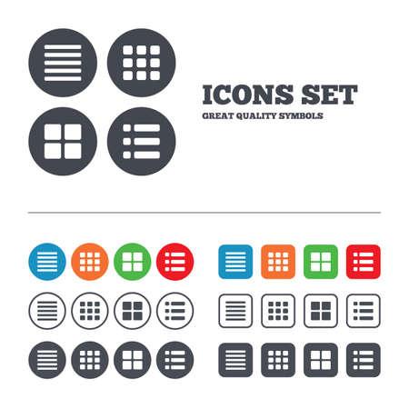 Illustration pour List menu icons. Content view options symbols. Thumbnails grid or Gallery view. Web buttons set. Circles and squares templates. Vector - image libre de droit