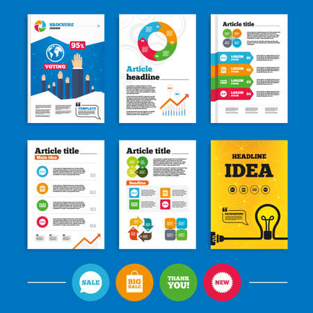 Illustration pour Brochure or flyers design. Sale speech bubble icon. Thank you symbol. New star circle sign. Big sale shopping bag. Business poll results infographics. Vector - image libre de droit