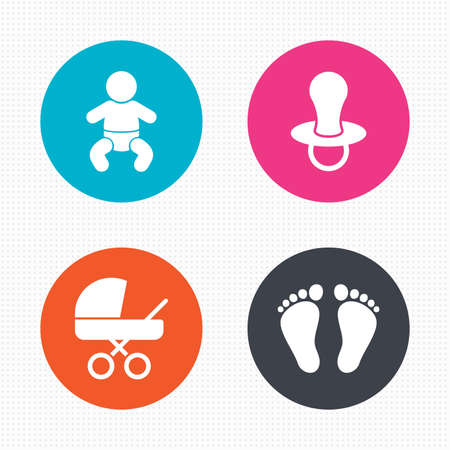 Ilustración de Circle buttons. Baby infants icons. Toddler boy with diapers symbol. Buggy and dummy signs. Child pacifier and pram stroller. Child footprint step sign. Seamless squares texture. Vector - Imagen libre de derechos