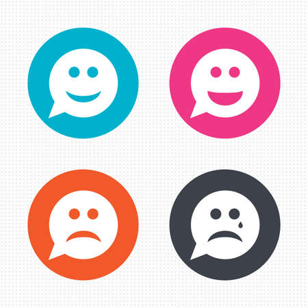 Illustration pour Circle buttons. Speech bubble smile face icons. Happy, sad, cry signs. Happy smiley chat symbol. Sadness depression and crying signs. Seamless squares texture. Vector - image libre de droit