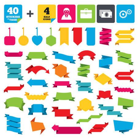 Ilustración de Web stickers, banners and labels. Businessman icons. Human silhouette and cash money signs. Case and gear symbols. Price tags set. Vector - Imagen libre de derechos