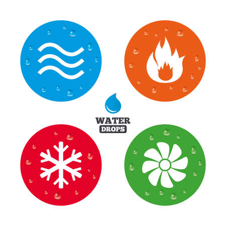 Illustration pour Water drops on button. HVAC icons. Heating, ventilating and air conditioning symbols. Water supply. Climate control technology signs. Realistic pure raindrops on circles. Vector - image libre de droit