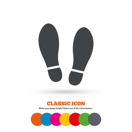 Ilustración de Imprint soles shoes sign icon. Shoe print symbol. Classic flat icon. Colored circles. Vector - Imagen libre de derechos