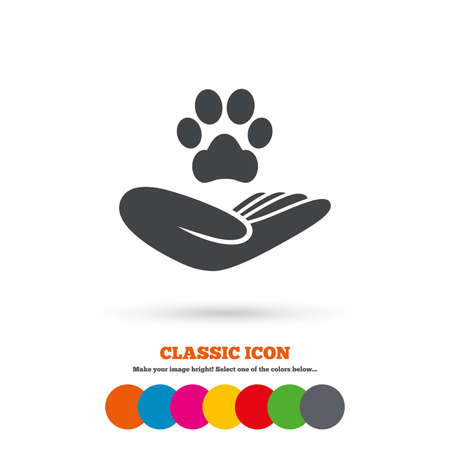 Ilustración de Shelter pets sign icon. Hand holds paw symbol. Animal protection. Classic flat icon. Colored circles. Vector - Imagen libre de derechos