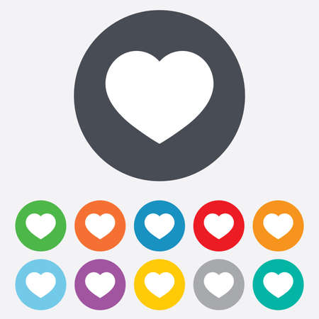 Love icon. Heart sign symbol. Round colourful 11 buttons. Vector