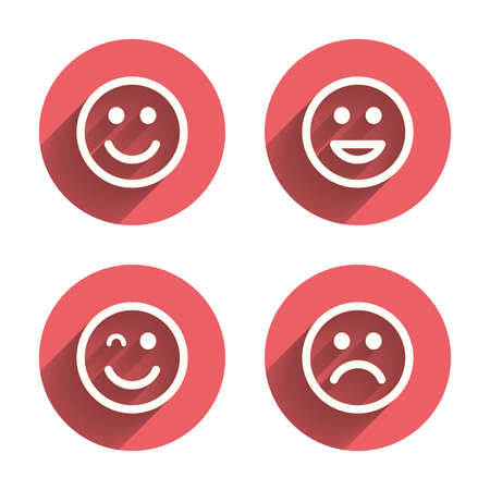 Illustration pour Smile icons. Happy, sad and wink faces symbol. Laughing lol smiley signs. Pink circles flat buttons with shadow. Vector - image libre de droit