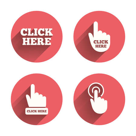 Illustration pour Click here icons. Hand cursor signs. Press here symbols. Pink circles flat buttons with shadow. Vector - image libre de droit