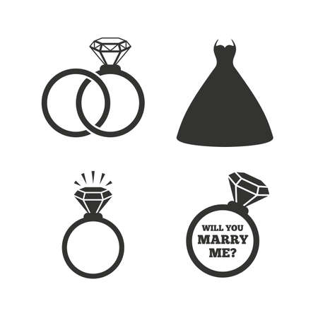 Wedding dress icon. Bride and groom rings symbol. Wedding or engagement day ring shine with diamond sign. Will you marry me? Flat icons on white. Vector