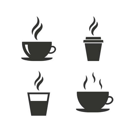 Ilustración de Coffee cup icon. Hot drinks glasses symbols. Take away or take-out tea beverage signs. Flat icons on white. Vector - Imagen libre de derechos