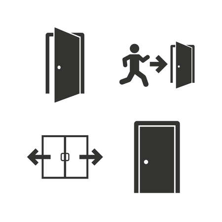 Illustration for Automatic door icon. Emergency exit with human figure and arrow symbols. Fire exit signs. Flat icons on white. Vector - Royalty Free Image
