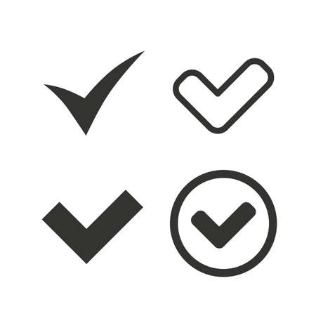 Illustration pour Check icons. Checkbox confirm circle sign symbols. Flat icons on white. Vector - image libre de droit