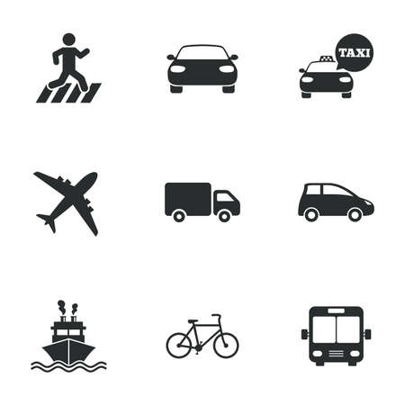 Photo for Transport icons. Car, bike, bus and taxi signs. Shipping delivery, pedestrian crossing symbols. Flat icons on white. Vector - Royalty Free Image