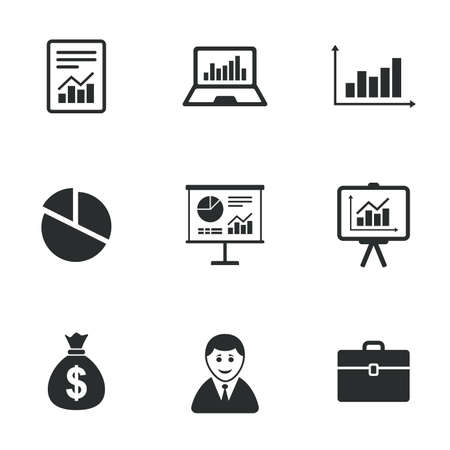 Ilustración de Statistics, accounting icons. Charts, presentation and pie chart signs. Analysis, report and business case symbols. Flat icons on white. Vector - Imagen libre de derechos
