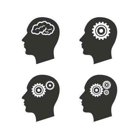 Ilustración de Head with brain icon. Male human think symbols. Cogwheel gears signs. Flat icons on white. Vector - Imagen libre de derechos