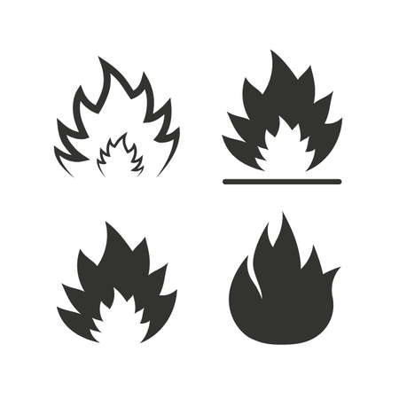 Illustration for Fire flame icons. Heat symbols. Inflammable signs. Flat icons on white. Vector - Royalty Free Image