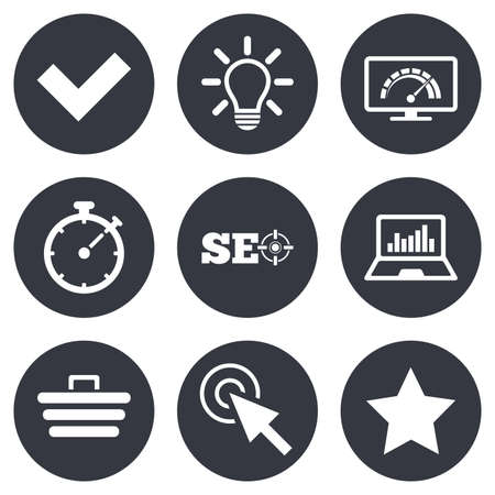 Illustration pour Internet, seo icons. Bandwidth speed, online shopping and tick signs. Favorite star, notebook chart symbols. Gray flat circle buttons. Vector - image libre de droit