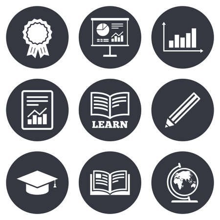 Ilustración de Education and study icon. Presentation signs. Report, analysis and award medal symbols. Gray flat circle buttons. Vector - Imagen libre de derechos