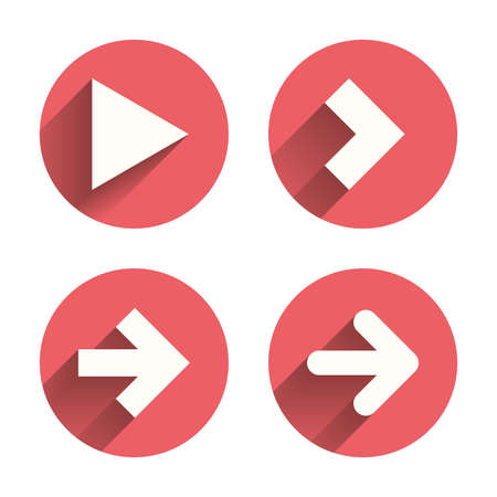 Illustration pour Arrow icons. Next navigation arrowhead signs. Direction symbols. Pink circles flat buttons with shadow. Vector - image libre de droit