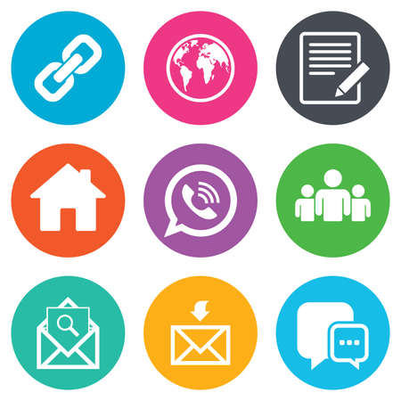Illustration pour Communication icons. Contact, mail signs. E-mail, call phone and group symbols. Flat circle buttons. Vector - image libre de droit